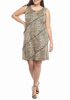 Perception Plus Size Plus Size Polka Dot Printed Tiered Shift Dress