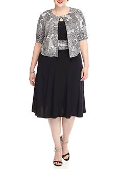Perceptions Plus Size Metallic Paisley Jacket Dress