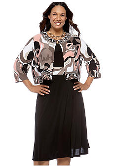 Perceptions Plus Size Printed Jacket Dress