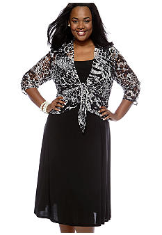 Perceptions Plus Size Animal Lace Jacket Dress