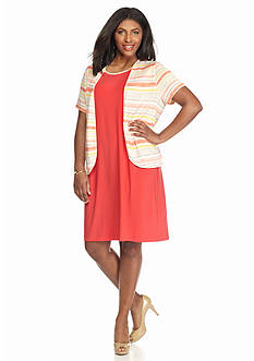 Perceptions Plus Size Striped Jacket Dress