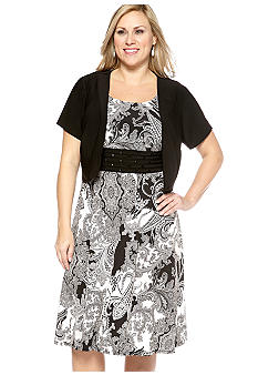 Perceptions Plus Size Paisley Print Jacket Dress