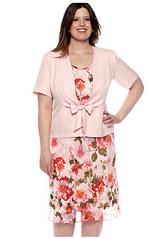Perceptions Plus Size Short-Sleeved Jacket Dress