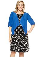 Perceptions Plus Size Polka Dot Jacket Dress