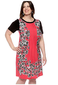Perceptions Plus Size Short-Sleeved Printed Dress