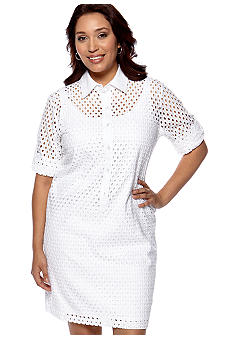 Chelsea Suite Plus Size Three-Quarter Sleeved Eyelet Shirt Dress