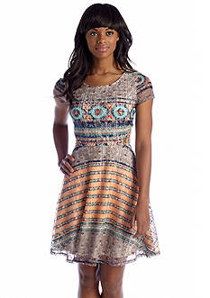 Fire Printed Lace Skater Dress