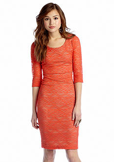 Fire Geometric Lace Midi Dress