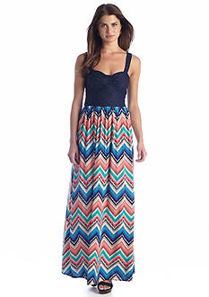 Fire Lace Top Printed Maxi Dress