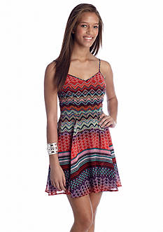 Fire Woven Printed Skater Dress