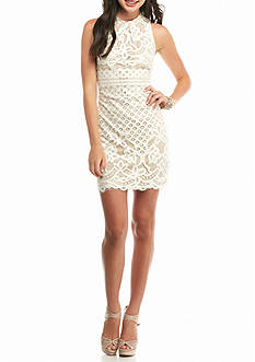 love, Fire High Neck Fitted Lace Dress