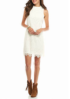 love, Fire High Neck Lace Swing Dress