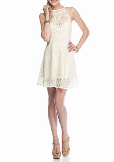 love, FIRE Crochet Neck Lace Skater Dress