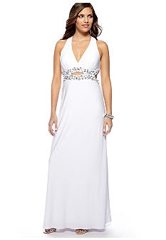 Ignite Halter Gown with Beaded Detail