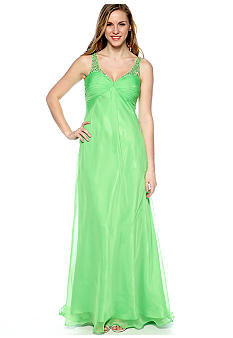 Ignite Sleeveless Chiffon Beaded Gown