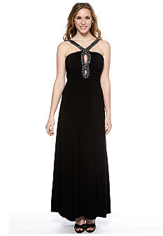Ignite Halter Crisscross Straps Beaded Detail Gown