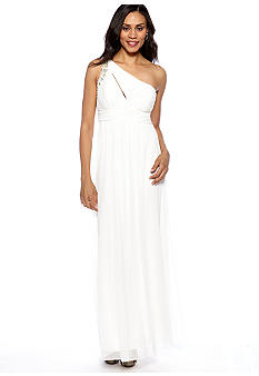 Ignite One Shoulder Gown with Beaded Shoulder