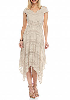 Chris McLaughlin Lace Cold Shoulder Hankie Hem Dress