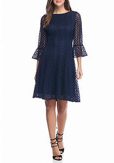 Chris McLaughlin Bell-Sleeve Lace Fit and Flare Dress