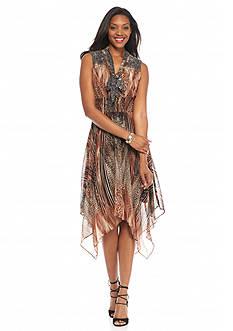 Chris McLaughlin Animal Printed Hankie Hem Dress