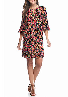 Chris McLaughlin Floral Ruffle Shift Dress