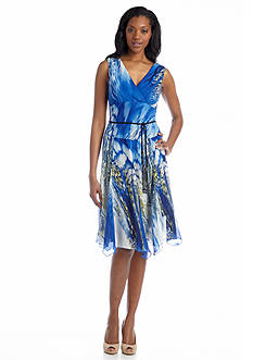 Chris McLaughlin Sleeveless Printed Fit and Flare Dress