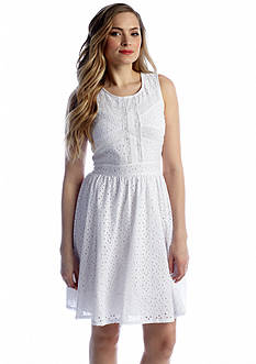 Chris McLaughlin Sleeveless Eyelet Fit and Flare Dress