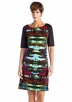 Chris McLaughlin Elbow Sleeve Printed Shift Dress