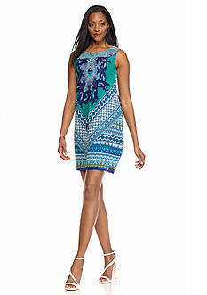 Chris McLaughlin Tuck Pleated Printed Shift Dress