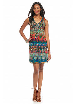 Chris McLaughlin Printed Tuck-Pleated Shift Dress
