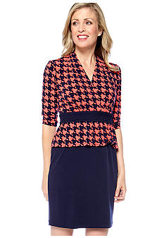 Chris McLaughlin Chris McLaughlin Houndstooth Peplum Dress