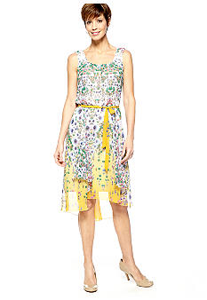 Chris McLaughlin Sleeveless Chiffon Printed Hi-Lo Dress