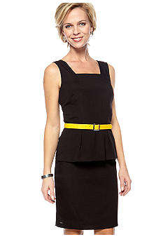 Chris McLaughlin Sleeveless Peplum Belted Sheath Dress