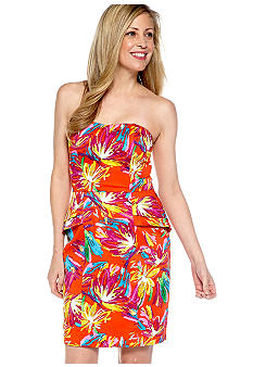 Chris McLaughlin Strapless Printed Peplum Sundress