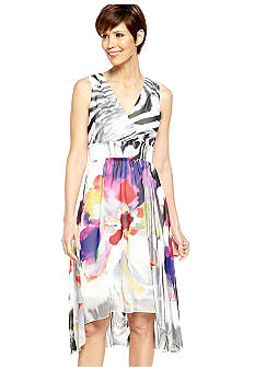 Chris McLaughlin Sleeveless Printed Hi-Lo Dress
