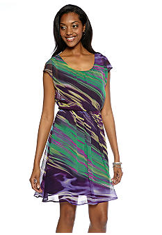 Chris McLaughlin Stripe Printed Sheer Dress