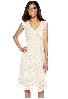 Chris McLaughlin Sleeveless Lace Dress with Smocking at Waist