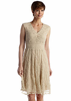 Chris McLaughlin Sleeveless Stretch Lace Fit and Flare Dress