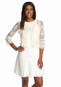 Chris McLaughlin Embroidered Mesh Shrug