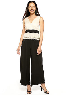 Chris McLaughlin Sleeveless Two-Tone Peplum Jumpsuit