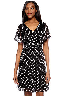 Chris McLaughlin Petite Polka Dot Smocked Waist Dress