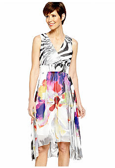 Chris McLaughlin Petite Sleeveless Printed Hi-Lo Dress