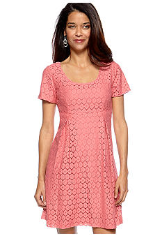 Chris McLaughlin Petite Short Sleeve Lace Dress