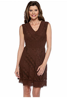 Chris McLaughlin Petite Sleeveless Allover Lace A-Line Dress