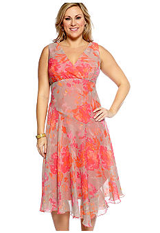 Chris McLaughlin Plus Size Sleeveless Crossover V-Neck Printed Dress