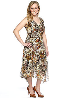 Chris McLaughlin Plus Size Sleeveless Printed Crossover V-Neck Dress