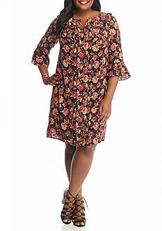 Chris McLaughlin Plus Size Floral Printed Ruffle Shift Dress