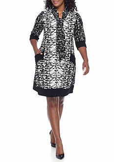 Chris McLaughlin Plus Size Printed Textured Knit Shift Dress with Tie Neck