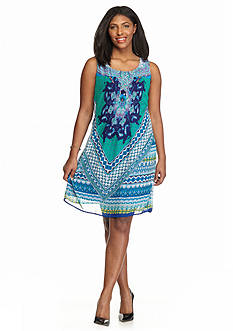 Chris McLaughlin Plus Size Tuck Pleated Printed Shift Dress