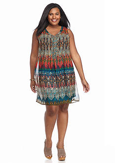 Chris McLaughlin Plus Size Printed Shift Dress